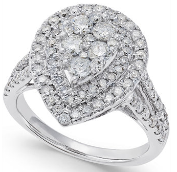 pear shaped ring, diamond peer ring
