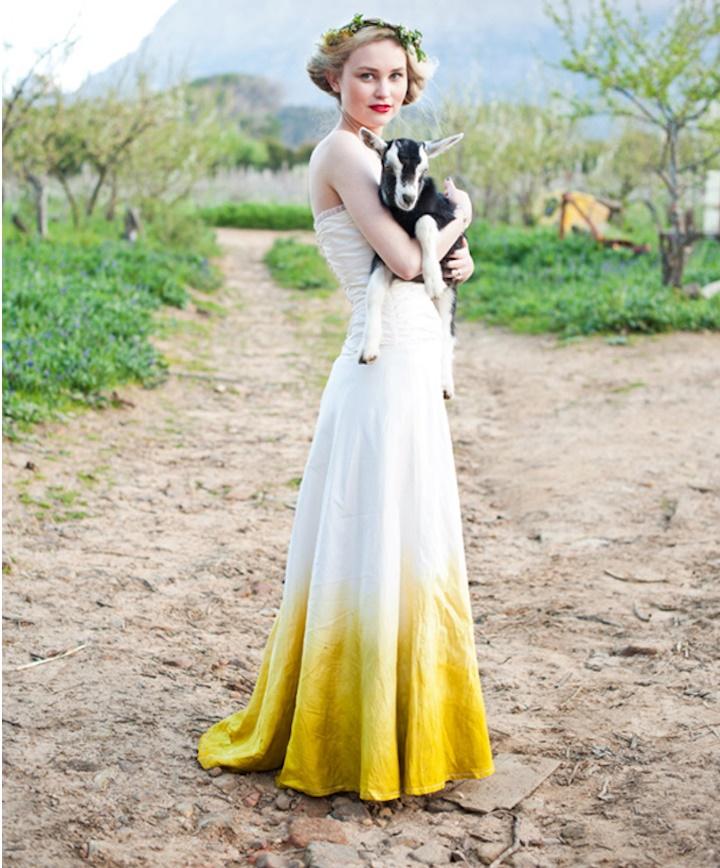 dip dye wedding dress trend