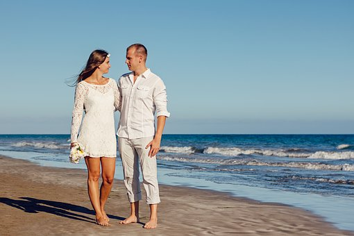 Wedding, Beach, Love, Young Couple