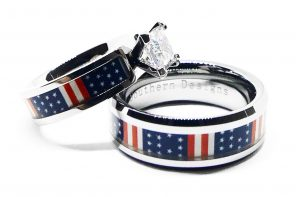 American Flag Engagement Ring Set